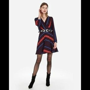 Express Striped Surplice Fit And Flare Dress S